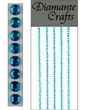 220 x 2mm Turquoise Diamante Self Adhesive Strips Rows Rhinestone Craft Gems