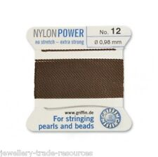 BROWN NYLON POWER SILKY STRING THREAD 0.98mm STRINGING PEARLS & BEADS GRIFFIN 12
