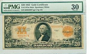 1922 $20 Gold Certificate Mule FR #1187m VF-30 PMG Certified