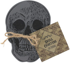 Set of 4 Skull Coasters Gothic Tattoo Drink Table Mat Spooky Novelty Gift