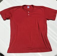 Vintage Russell Athletic Blank Single Stitch USA Red 2 Button T-shirt Mens XXL