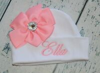 Personalized Gown Knot Hat Monogrammed Newborn Gown and Hat Set with Mini Fox