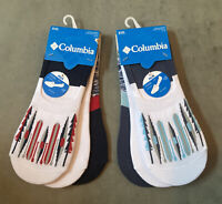 Columbia No Show Liner Socks 6 Pair Mens Shoe Size 6-12 White Blue Red NEW