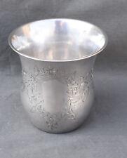 GRANDE TIMBALE EN ARGENT MASSIF MINERVE  ( french silver cup ) DECOR DE FLEURS