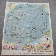 """RARE 1954 DON THE BEACHCOMBER MEA HOOMANAO """"A THING TO REMEMBER"""" NOT A MENU"""
