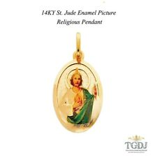 14K Yellow Gold St. Jude Enamel Picture Religious Pendant H:28 MM  W:18MM