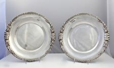 Pair Dutch Art Nouveau Sterling Silver Platters with Cattails by Ph. Saakes - SL