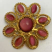 Vintage Pink Glass Moonglow Style Gold Tone Flower Brooch Pin Floral Navette
