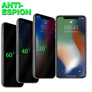 VERRE TREMPÉ VITRE PROTECTION FILM ANTI ESPION IPHONE 11 12 PRO X XR 8 7 6 SE