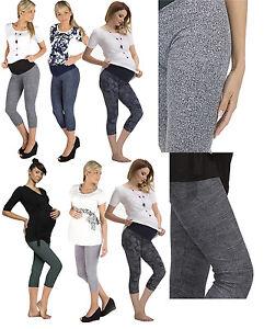 Maternity Capri Pants 3/4 Pattern Maternity Trousers Leggings Combed Cotton