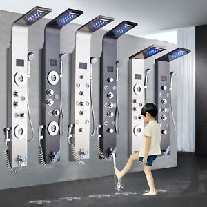 Stainless Steel Shower Panel Tower System LED Rain&Waterfall Massage Jet Spraye