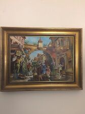 Vintage Barcelona Spain, Oil Painting On Canvas,Signed Ramos,