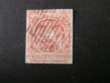 *ECUADOR, SCOTT # 6, 4r. VALUE RED 1865-72 COAT OF ARMS IMPERF. ISSUE USED