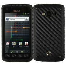 Skinomi Carbon Fiber Black Phone Skin+Screen Guard Cover for Samsung Rugby Smart