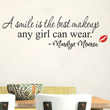 Cool Smile Makeup Art Marilyn Monroe Quote Vinyl Wall Sticker Home Decor Decal