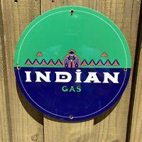 """VINTAGE """"INDIAN GAS"""" PORCELAIN METAL SIGN GASOLINE PUMP PLATE MOTOR OIL USA"""