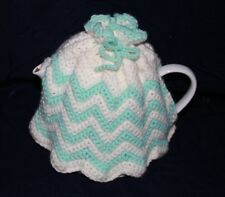 VINTAGE crocheted knitted tea coffee pot cosy aqua white stripe scallop 6cup pot