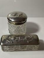 Edwardian Solid Silver Cherub Dressing Jars Henry Matthews 1903-4 Birmingham