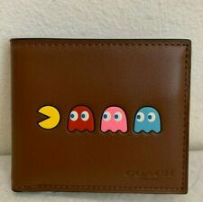 NWT Coach MENS ID Billfold Leather Wallet with PACMAN F75911 $178 Saddle