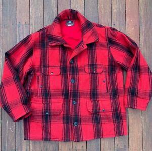 Vintage JOHNSON WOOLEN MILLS Men's 46 L WOOL Jacket Red Buffalo Plaid USA