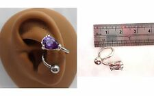Stainless Surgical Steel Purple Crystal Wrap Cuff Conch Ring Hoop 14 gauge 14g