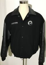 Bombardier BRP Black Leather Wool Blend Bomber Jacket Coat Size Large