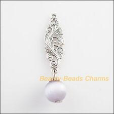5Pcs Tibetan Silver Tone Purple Cat Eye Beads Flower Charms Pendants 10x45mm