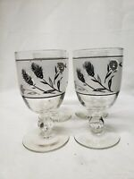 Vintage Libbey Silver Leaf Wheat Frosted Goblets Wine/Water Glasses MCM