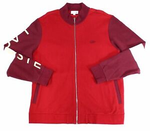 Lacoste Mens Jacket Red Size Large L Waffle Knit Full-Zip Track $135 #138