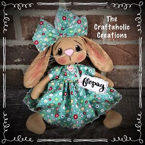 * primitive raggedy BUNNY girl doll * RABBIT flowers floral FLOPSY bunny SPRING