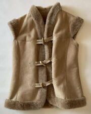 Christian Dior Boutique Fourrure Leather Suede Fur Vest Womens Beige