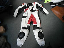 "Frank Thomas 40"" Chest Mens Black Red & White Leather Motorbike 1 Piece Suit"