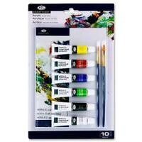 Royal And Langnickel 10 Piece Acrylic Paints Art Set Artist Boards Brushes Craft