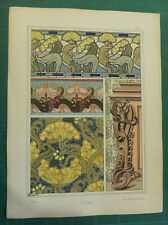 Butome lithographie Bourgeot art nouveau fin XIXe siècle Plantes Ornement