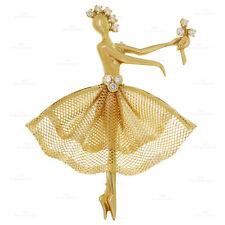 VAN CLEEF & ARPELS Vintage Diamond 18k Yellow Gold Ballerina Brooch