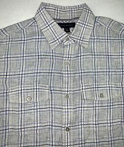 Banana Republic Linen Button Down Shirt Size Medium 15 Blue Check Short Sleeve