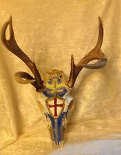 7 Point Wild whitetail deer antlers skull Man cave Original Signed Art