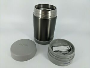 Thermos 16 oz Food Jar Insulated FUNtainer Gray w/Folding Spoon Hot/Cold NEW