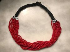 Bead Beaded Statement Boho Necklace Vintage Red Multi Strand Seed