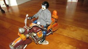 """1957 Handmade Tin Indian Motorcycle toy model 14 """" long nice rider with details"""