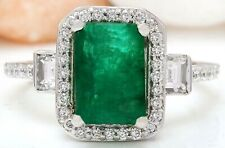 3.51 Carat Natural Emerald and Diamond 18K White Gold Engagement Ring