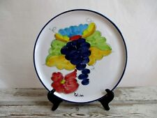 """Hand Painted Red Clay Portugal """"Celina"""" Large Serving Plate 11"""" Grapes Signed"""