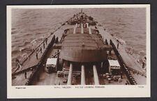Navy British HMS NELSON Foc'sle c1920/30s? sailors lined up RP PPC