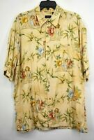Izod Mens Tan Floral Girl Print Short Sleeve Button-Up Hawaiian Beach Shirt XL
