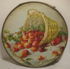 Old Antique Victorian Glass Kitchen Flue Cover Spilled Basket of Cherries