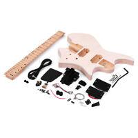 Unfinished DIY Electric Guitar Kit Set Basswood Body Maple Wood Fingerboard R5O4