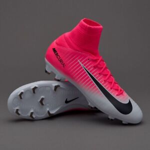 Nike Jr Mercurial Superfly V FG Kids Youth Football Soccer Cleats Pink White 4.5