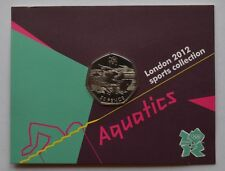 2012 London Olympic Games 50p Sports Collection Uncirculated Aquatics Coin