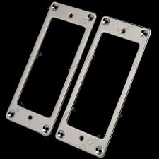 Pickup Humbucker Ring for Electric Guitar 2Pc Silver Mini Style Metal Flat Base