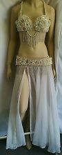 Beautiful Egyptian Belly Dance Costume-decorated with pearl & silver beads. B-2